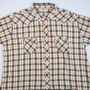 Arizona mens size 3XLT SS pearl snap shirt, plaid